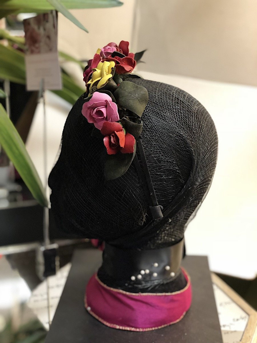 Fleur Cuir Garden of  Roses Leather Fascinator Headband in Red Yellow & Pink - Lookbook Boutique