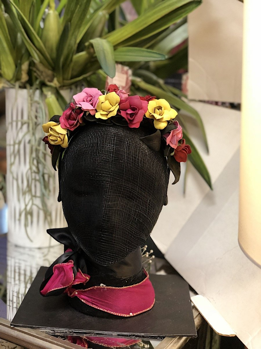 Fleur Cuir Garden of Roses Leather Fascinator Headband in Red Yellow & Pink-Lookbook Boutique