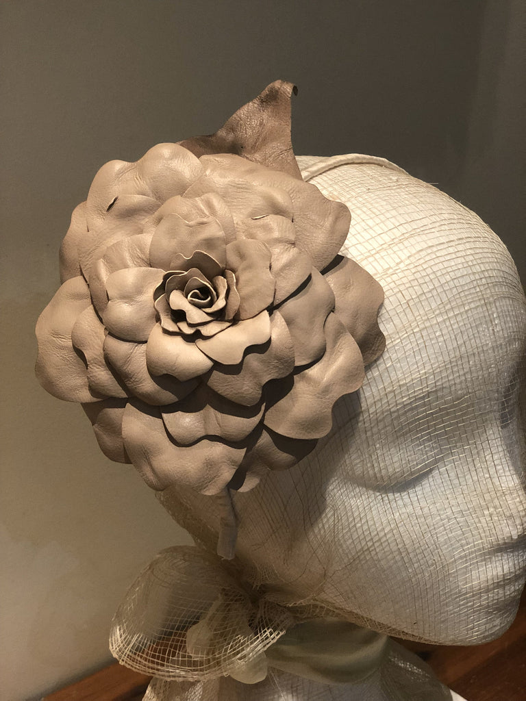 Fleur Cuir Large Leather Single Rose with Leaf Headband in Nude - Lookbook Boutique