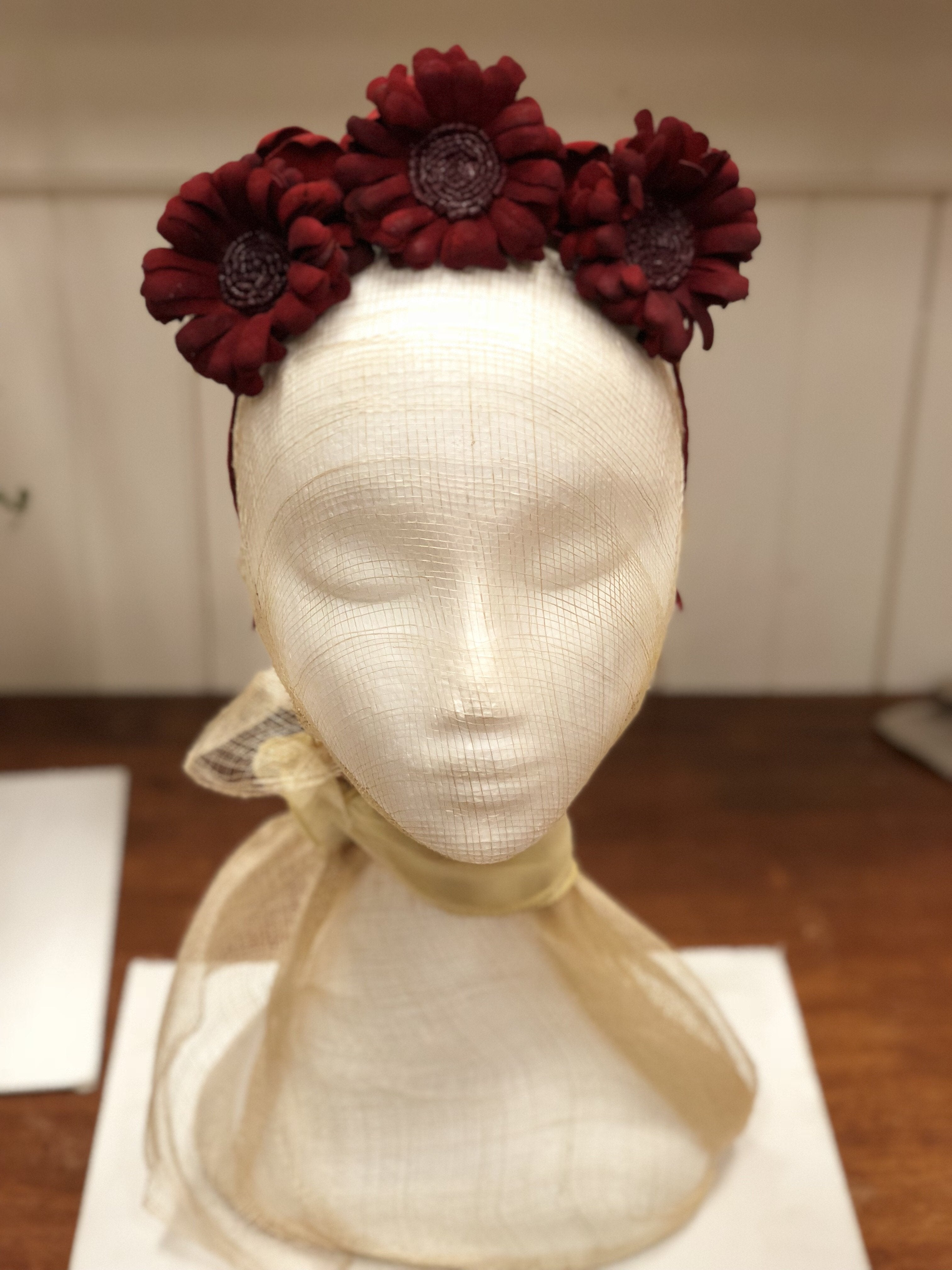 Fleur Cuir Leather Daisies Headband in Deep Red Suede - Lookbook Boutique