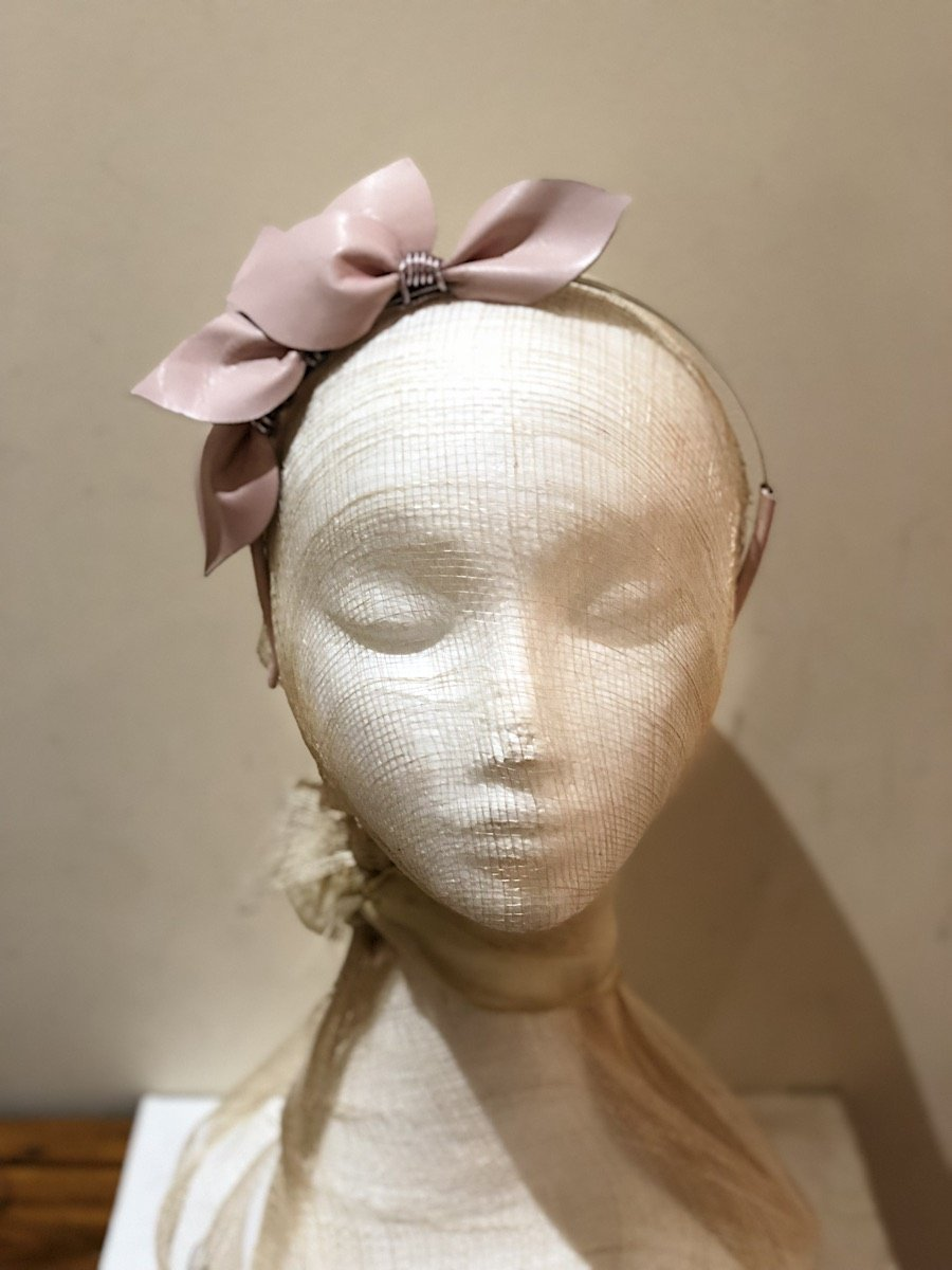 Fleur Cuir Leaves Leather Headband in Ballet Pink - Lookbook Boutique