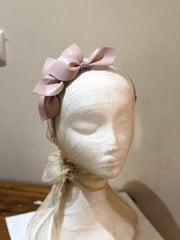 Fleur Cuir Leaves Leather Headband in Ballet Pink
