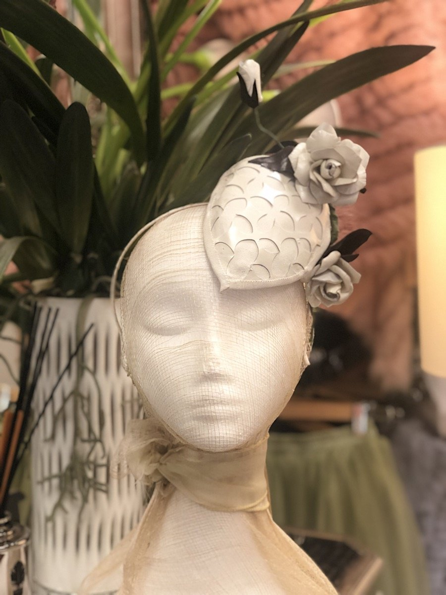 Fleur Cuir Pearl Leather Roses Fascinator Headband in Ivory-Lookbook Boutique