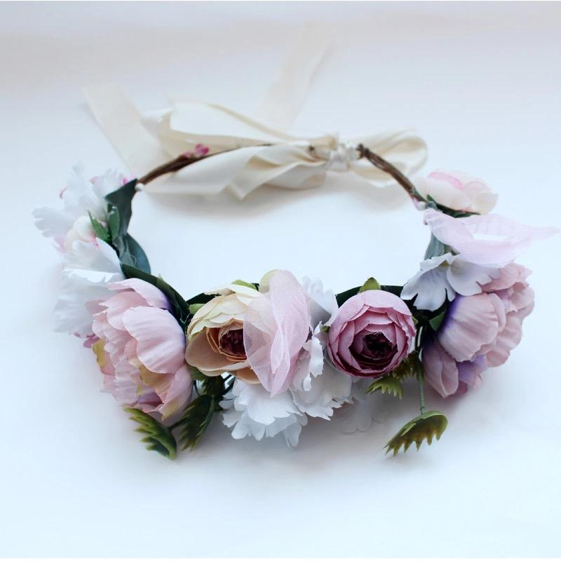 Fleur Cuir Pretty Pink Peonies Flower Crown - Lookbook Boutique