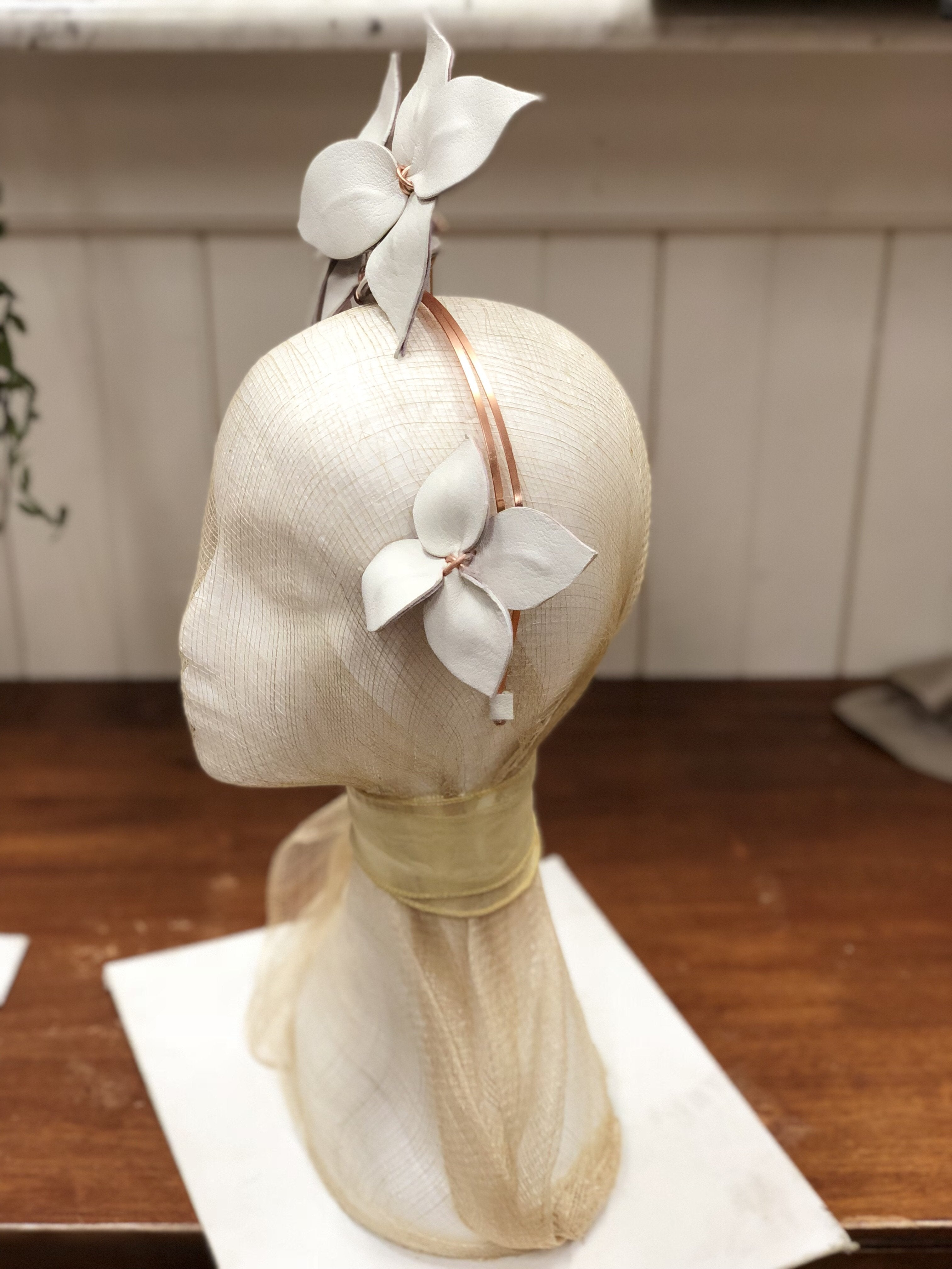 Fleur Cuir Star Flowers Asymmetrical Leather Headband in White & Violet Pink - Lookbook Boutique