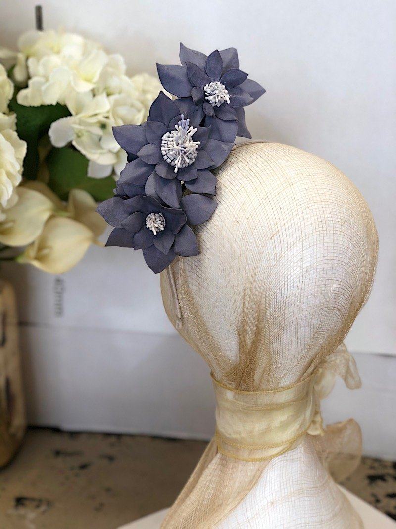 Fleur Cuir Star Garden Reversible Leather Headband in Lavender Blue with White - Lookbook Boutique
