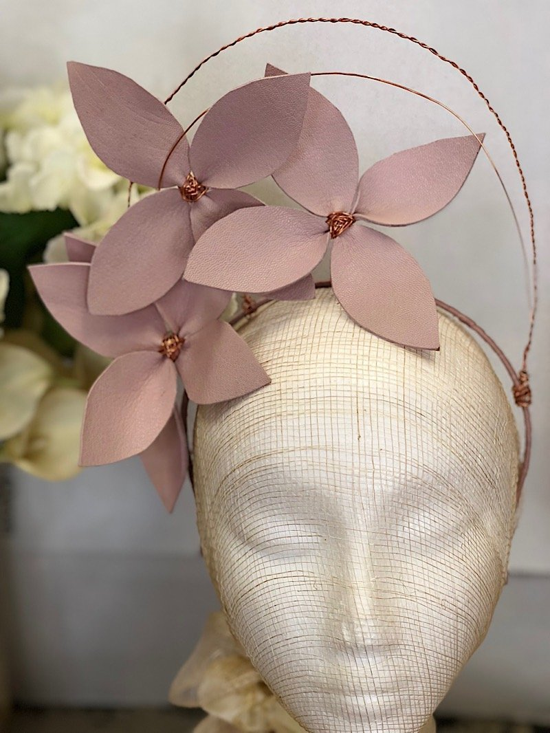 Fleur Cuir Stars in My Eyes Leather Flower Halo Headband in Lilac Pink & Rose Gold-Lookbook Boutique
