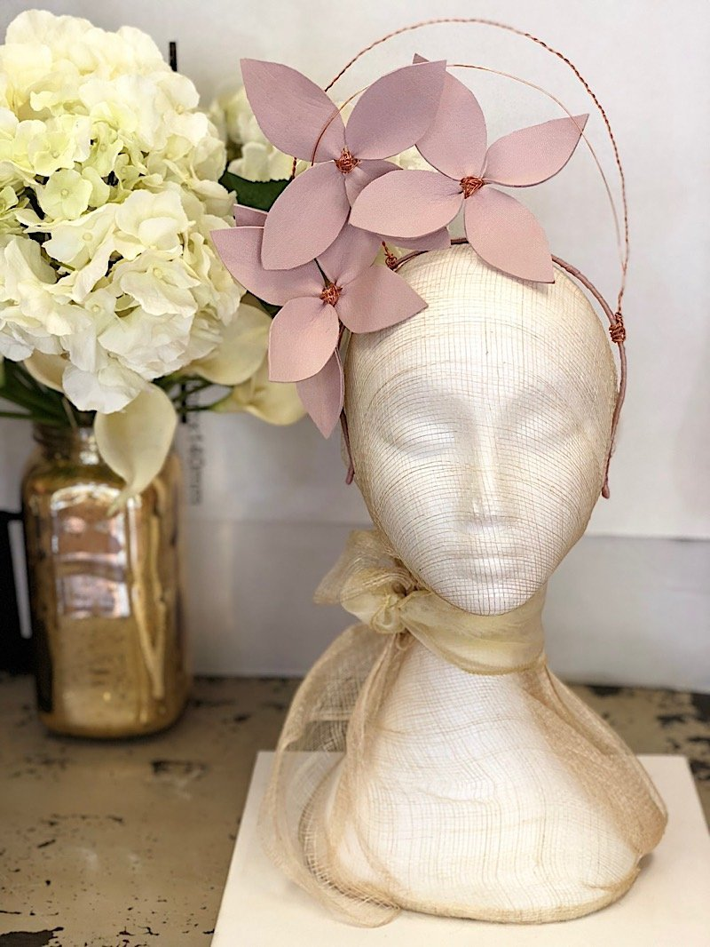 Fleur Cuir Stars in My Eyes Leather Flower Halo Headband in Lilac Pink & Rose Gold - Lookbook Boutique