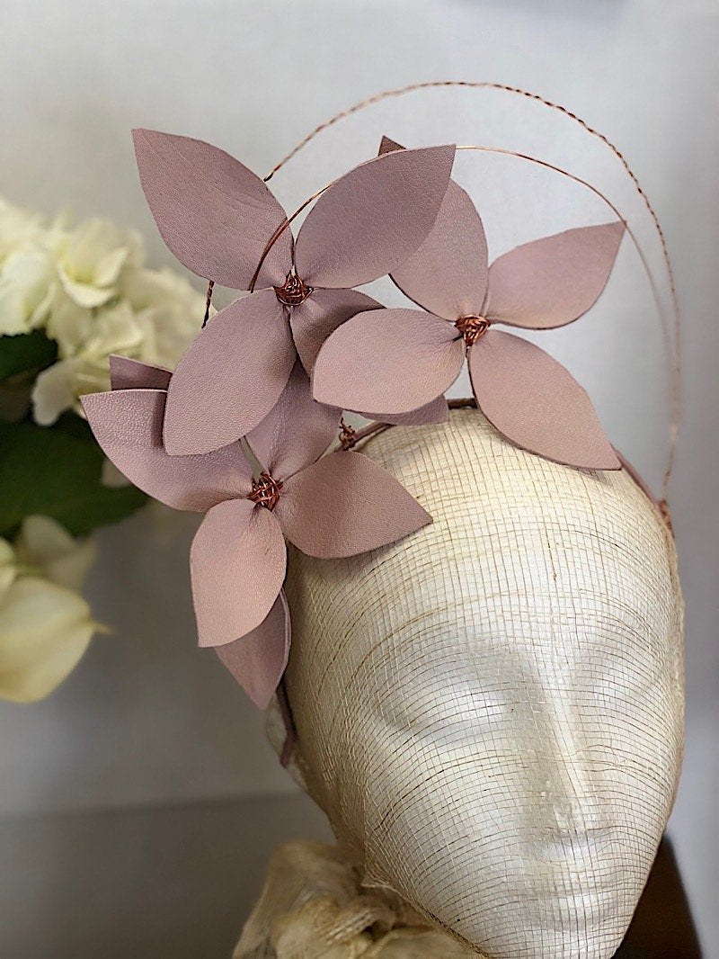 Fleur Cuir Stars in My Eyes Leather Flower Halo Headband in Lilac & Rose Gold - SOLD - Lookbook Boutique