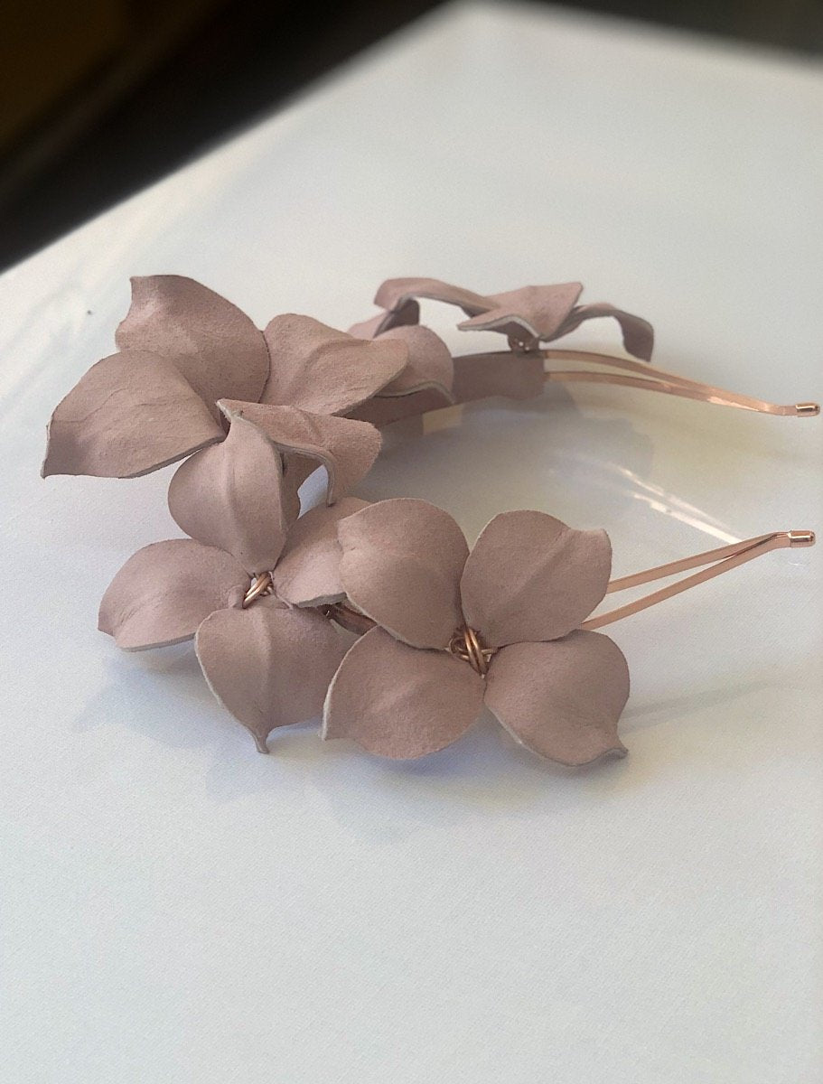 Fleur Cuir Suede Star Flower Headband in Nude Pink & Rose Gold - Lookbook Boutique