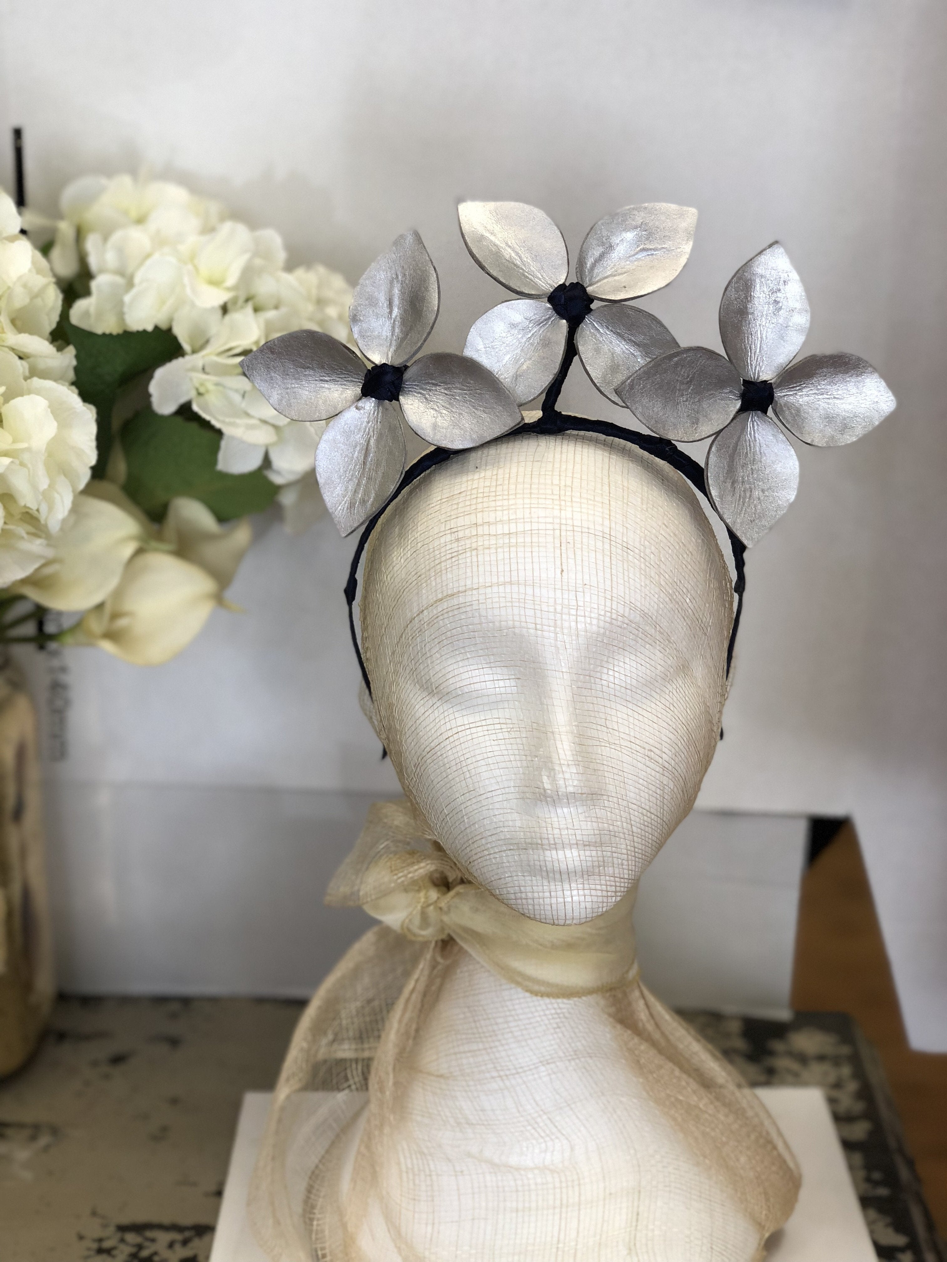Fleur Cuir Triple Star Leaves Leather Halo Headband in Silver with Navy Accents-Lookbook Boutique