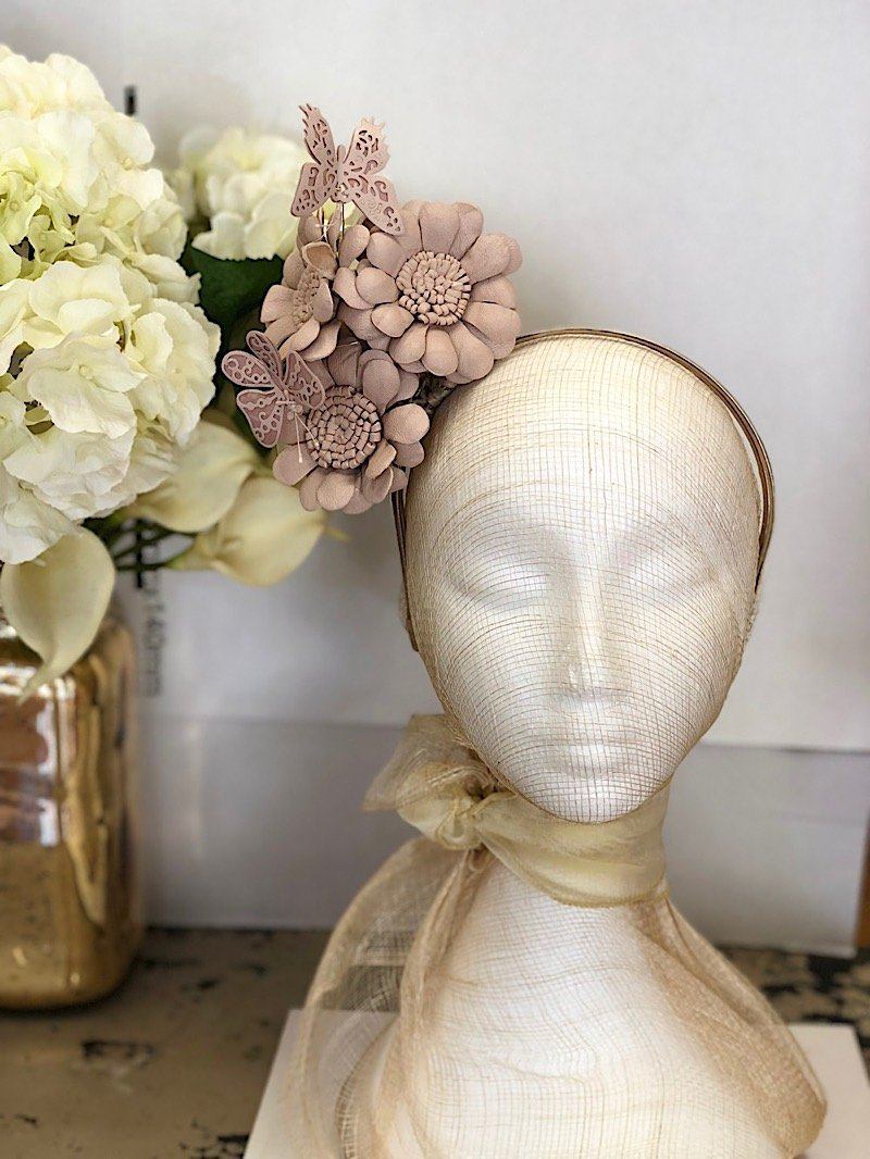Fleur Cuir Whimsical Daisies and Butterflies Reversible Leather Headband in Nude Pink - Lookbook Boutique