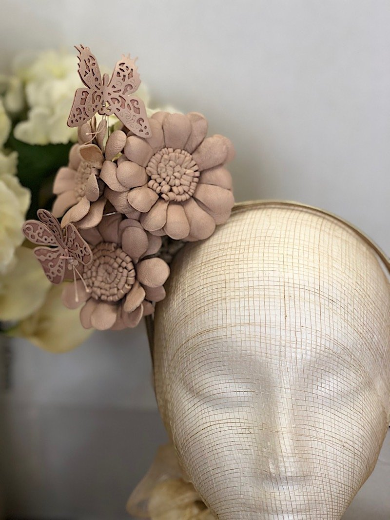 Fleur Cuir Whimsical Daisies and Butterflies Reversible Leather Headband in Nude Pink-Lookbook Boutique