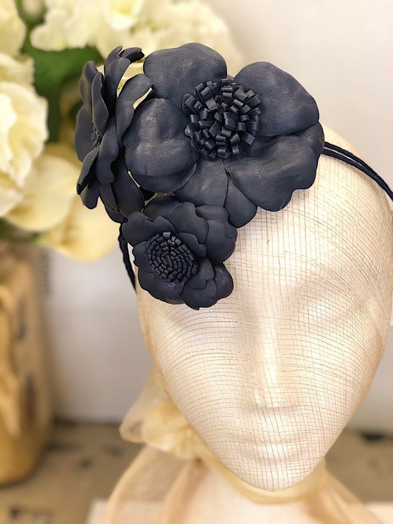 Fleur Cuir Wild Roses Bouquet Leather Headband in Navy - Lookbook Boutique