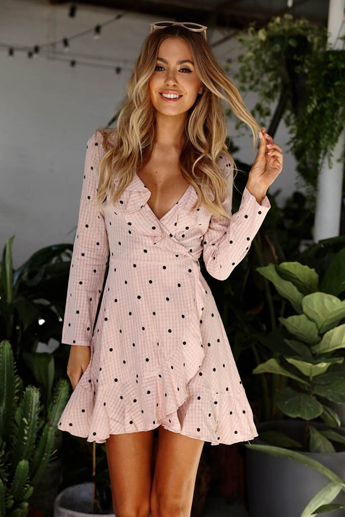 Forever Lily Ruffled Wrap Mini Dress in Baby Pink Spot – Lookbook ...