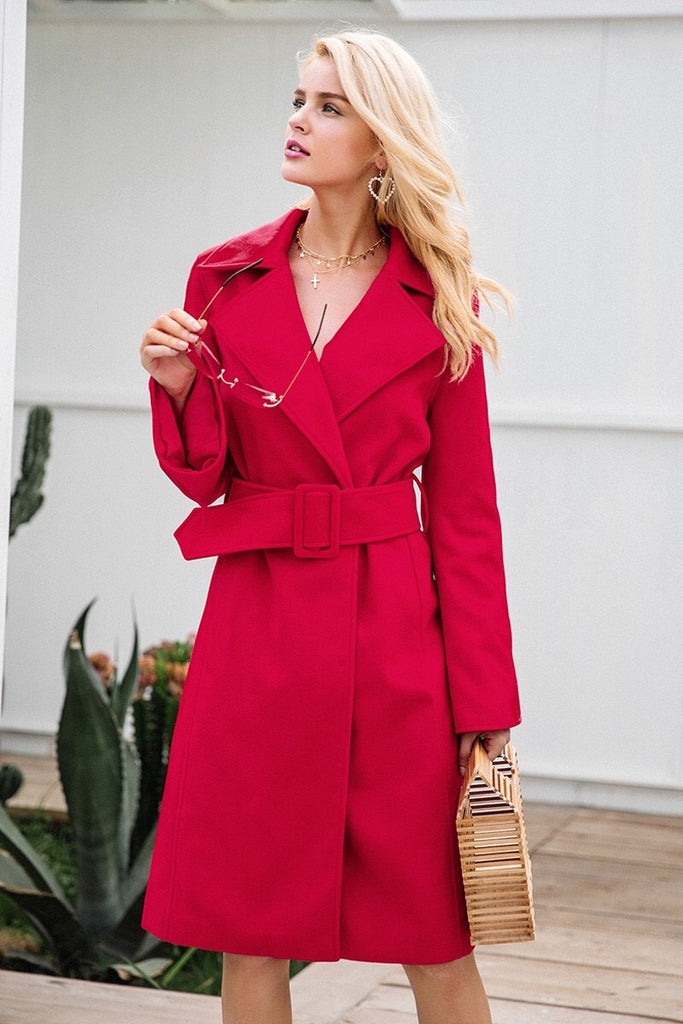 Girl In The Mirror Harlem Structured Coat with Belt in Red-Lookbook Boutique