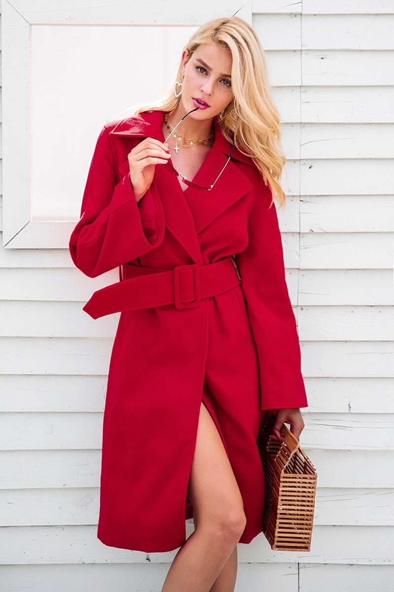 Girl In The Mirror Harlem Structured Coat with Belt in Red - Lookbook Boutique