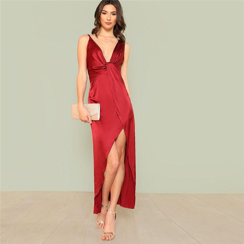90764748e6 Girl In The Mirror Melody Satin Plunge Twist Maxi Dress in Deep Red –  Lookbook Boutique