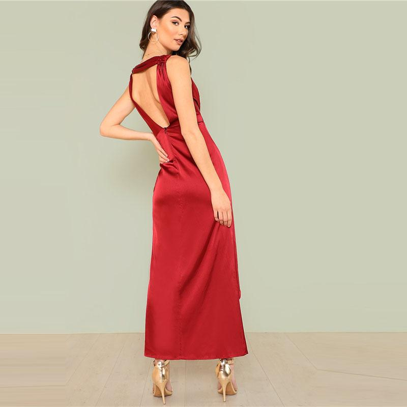 Girl In The Mirror Melody Satin Plunge Twist Maxi Dress in Deep Red - Lookbook Boutique