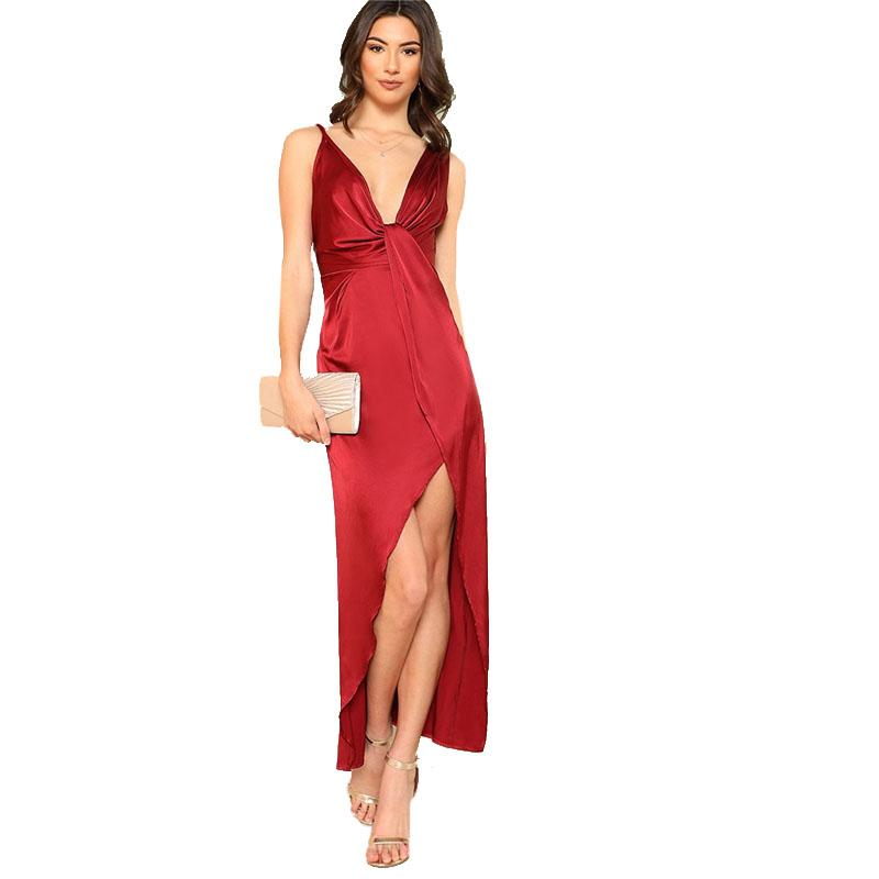 a5698cc276e0 Girl In The Mirror Melody Satin Plunge Twist Maxi Dress in Deep Red –  Lookbook Boutique