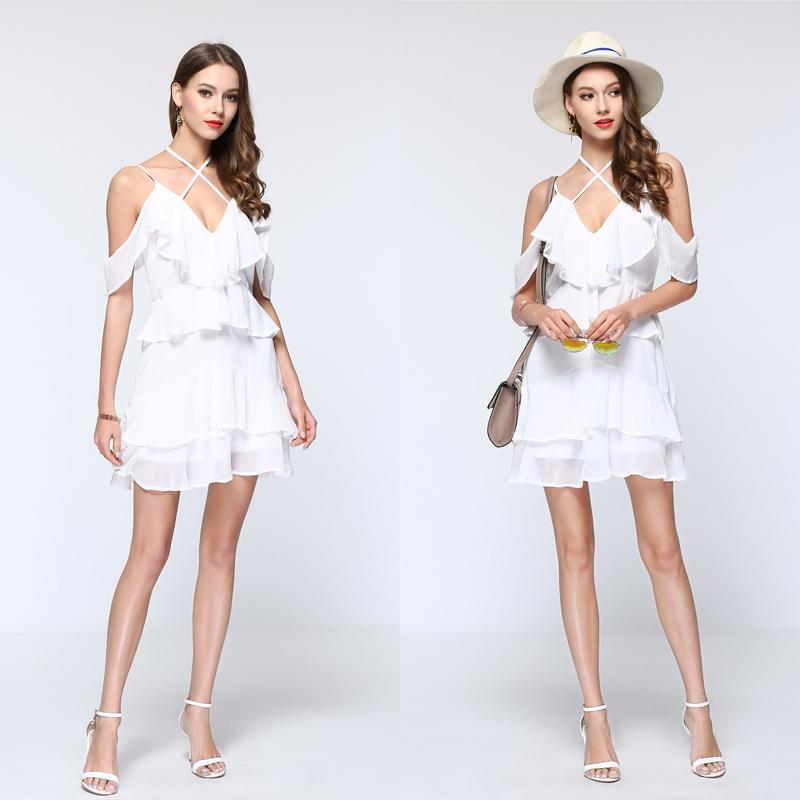 Lovely Soft Ruffled Spaghetti Strap Mini Dress in White-Lookbook Boutique