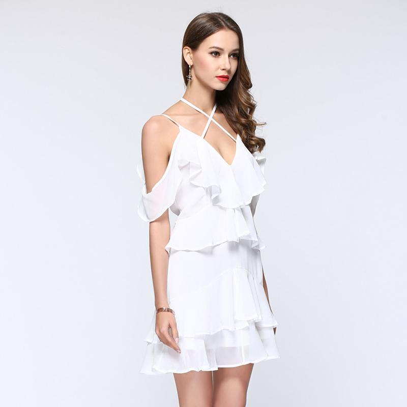 Lovely Soft Ruffled Spaghetti Strap Mini Dress in White - Lookbook Boutique