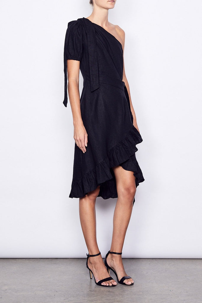 MLM  May One Shoulder Linen Wrap Midi Dress in Black - Lookbook Boutique