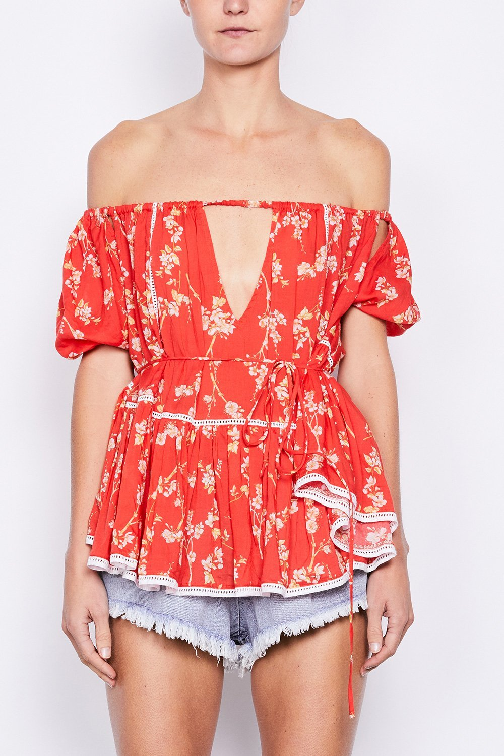 MLM Noah Off The Shoulder Baby Doll Top in Red Floral - Lookbook Boutique