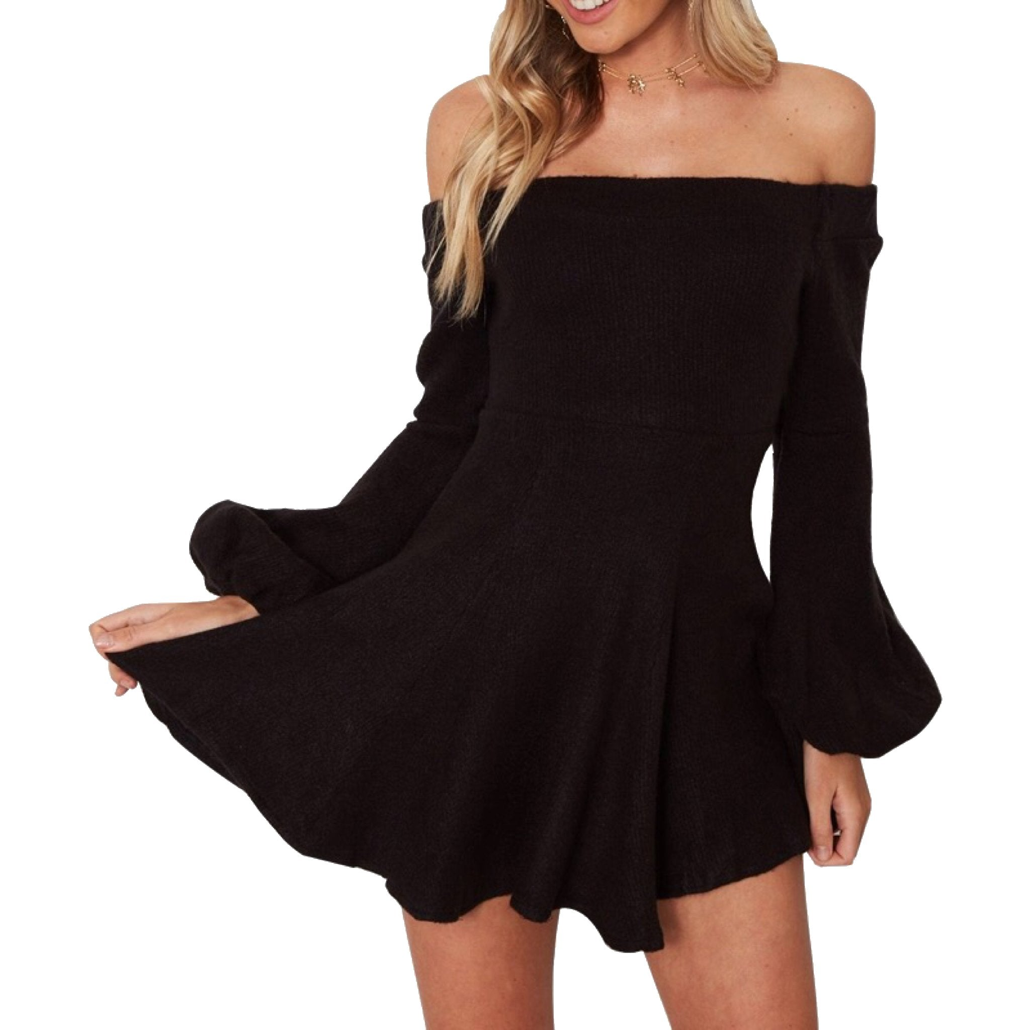 Off The Shoulder Balloon Sleeve Knit Mini Dress in Black-Lookbook Boutique
