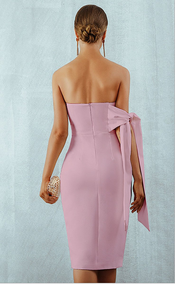 One Shoulder Tie Strapless Fitted Midi Dress in Nude Pink - Lookbook Boutique