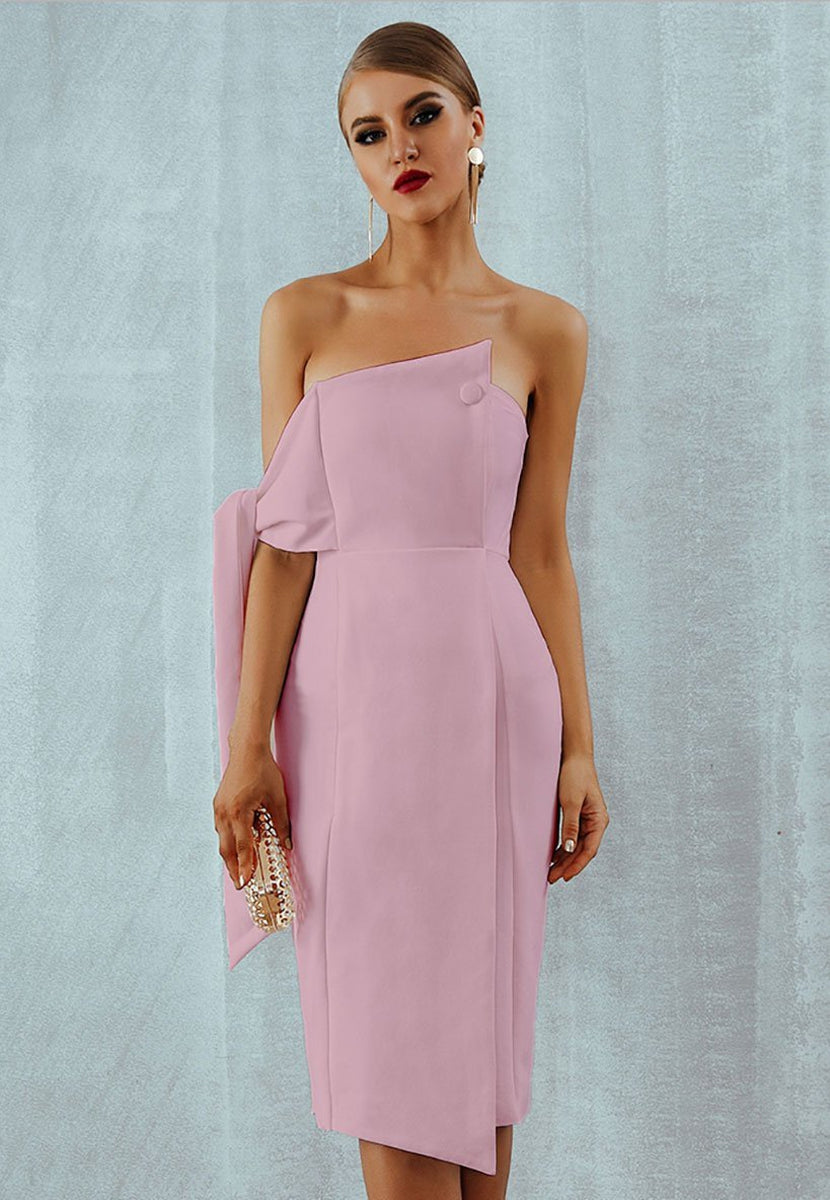 One Shoulder Tie Strapless Fitted Midi Dress in Nude Pink-Lookbook Boutique