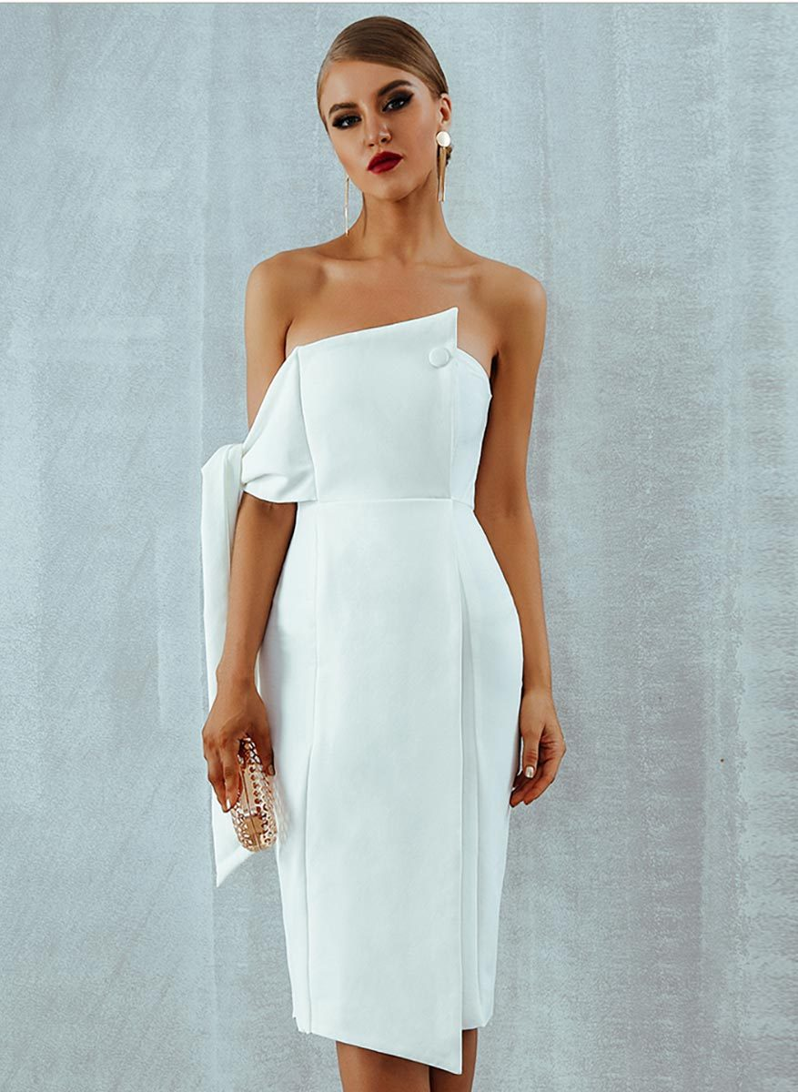 One Shoulder Tie Strapless Fitted Midi Dress in White-Lookbook Boutique