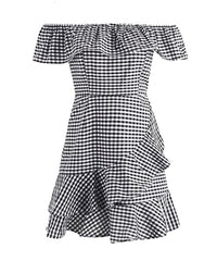 OTN Off Shoulder Gingham Casual Mini Dress in Black White