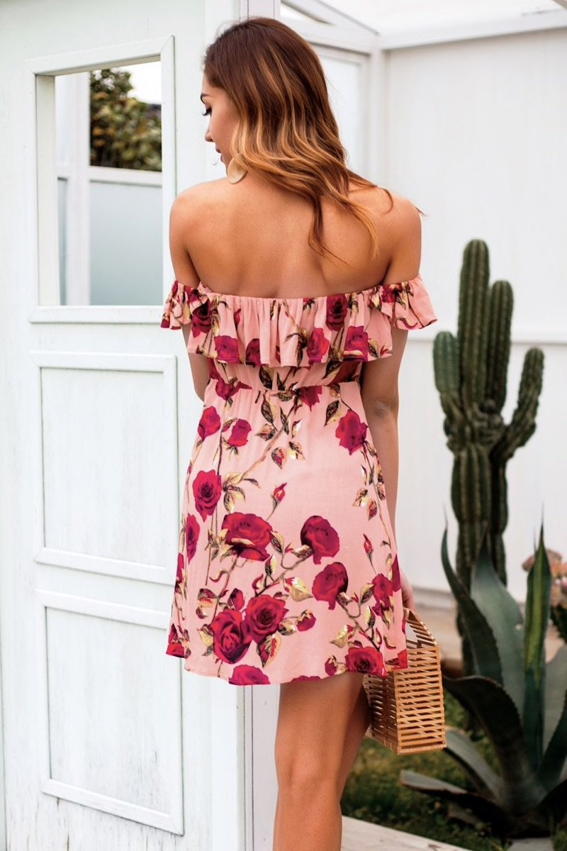 OTN Off Shoulder Lace Front Casual Mini Dress in Floral - Lookbook Boutique