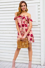 OTN Off Shoulder Lace Front Casual Mini Dress in Floral-Lookbook Boutique