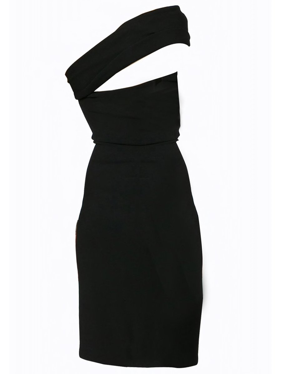 dee1673196a17 OTN One Shoulder Side Ruched Fitted Midi Dress in Black – Lookbook ...