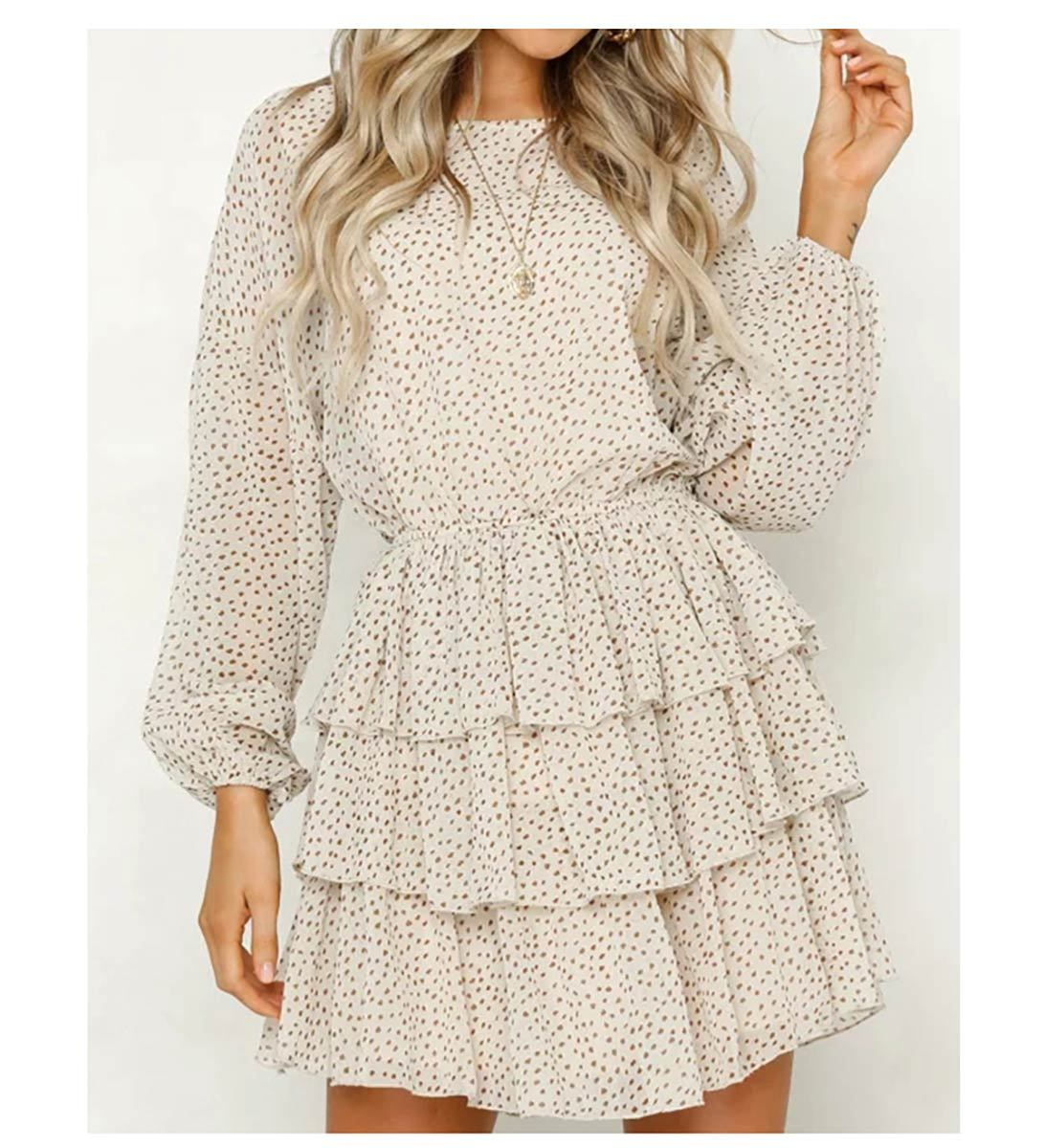 OTN Puff Sleeve Gathered Waist Ruffle Mini Dress in Cream Spot-Lookbook Boutique
