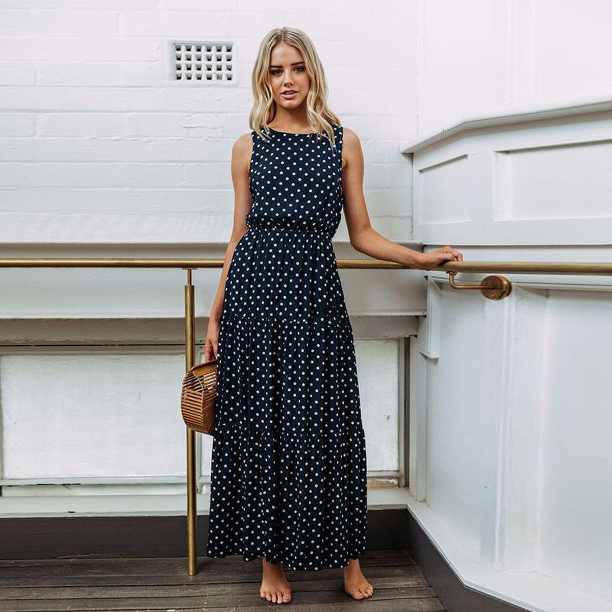 OTN Sleeveless Gathered Waist Casual Midi Dress in Navy Dots - Lookbook Boutique