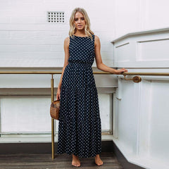OTN Sleeveless Gathered Waist Casual Midi Dress in Navy Dots