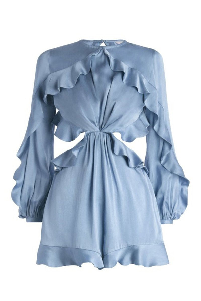 Padego Flounce Backless Playsuit in Baby Blue Satin - Lookbook Boutique