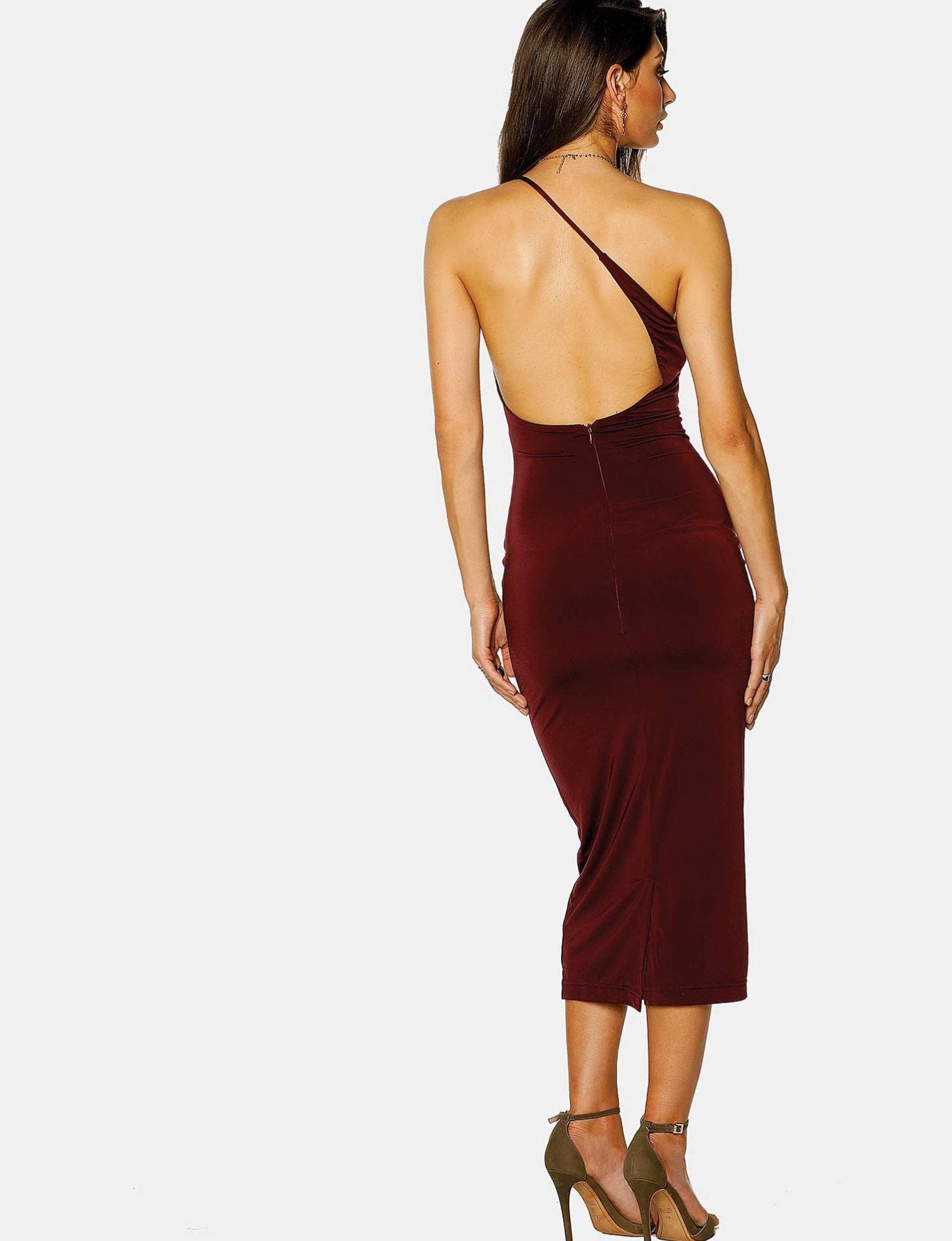 Pasduchas Bae Sexy Bodycon Midi Dress in Deep Wine-Lookbook Boutique