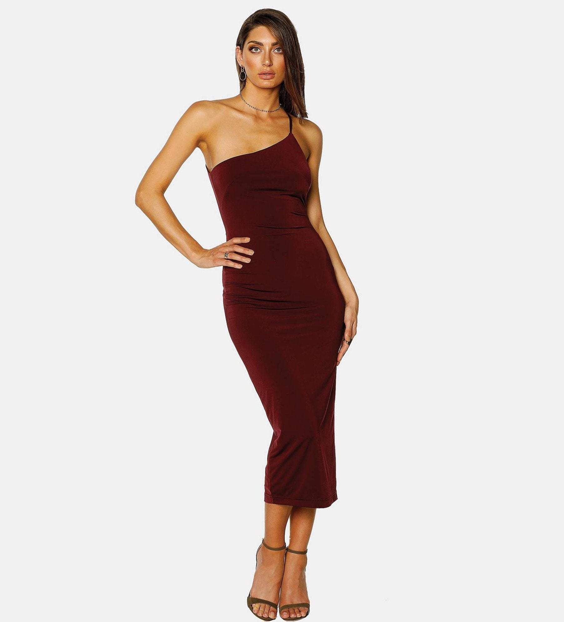 Pasduchas Bae Sexy Bodycon Midi Dress in Deep Wine - Lookbook Boutique