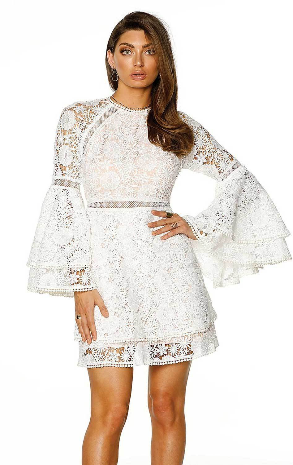 Pasduchas Duke Lace A Line Flare Sleeve Mini Dress in White-Lookbook Boutique