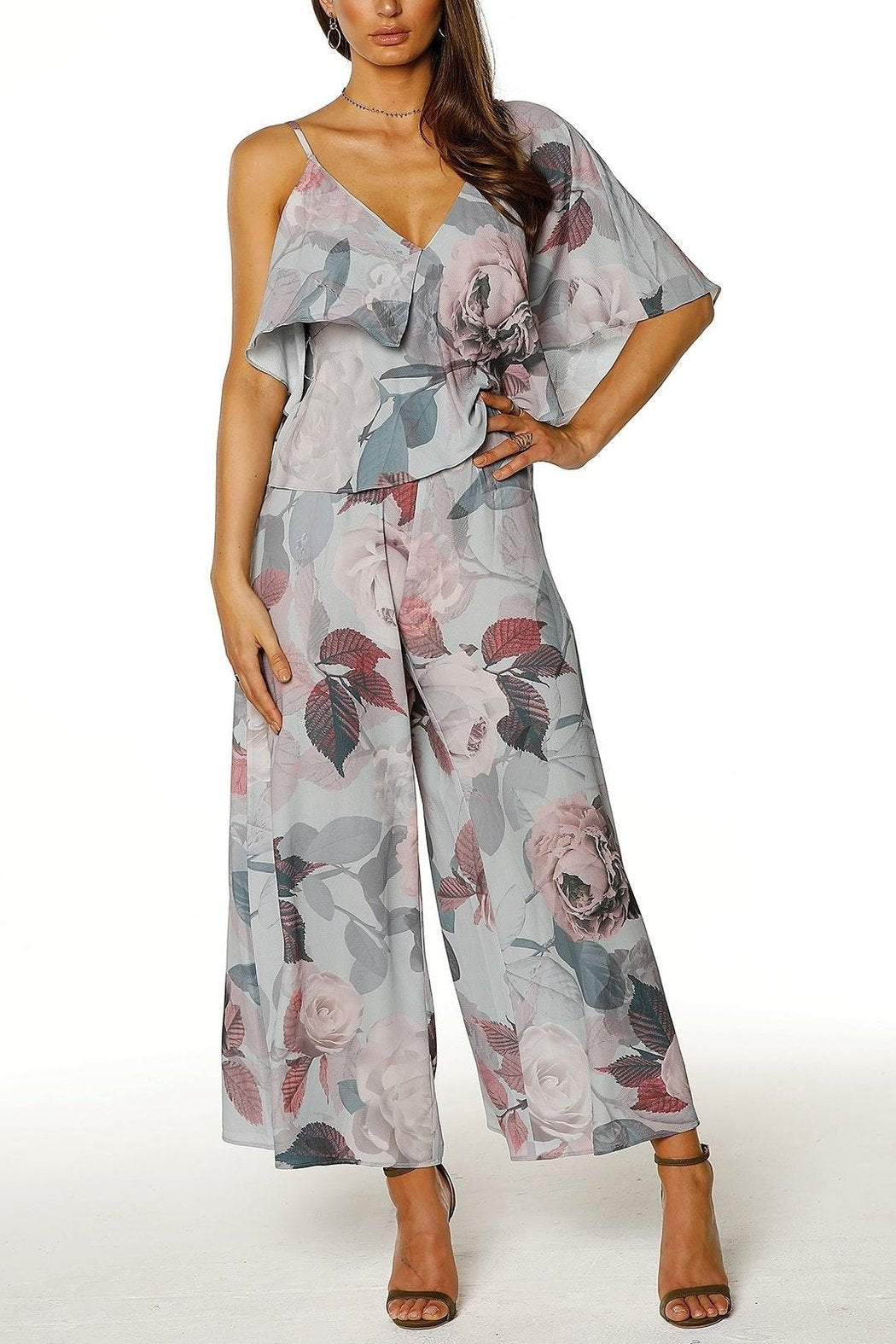 Pasduchas Remi Ruffle Wide Leg Jumpsuit in Floral - Lookbook Boutique