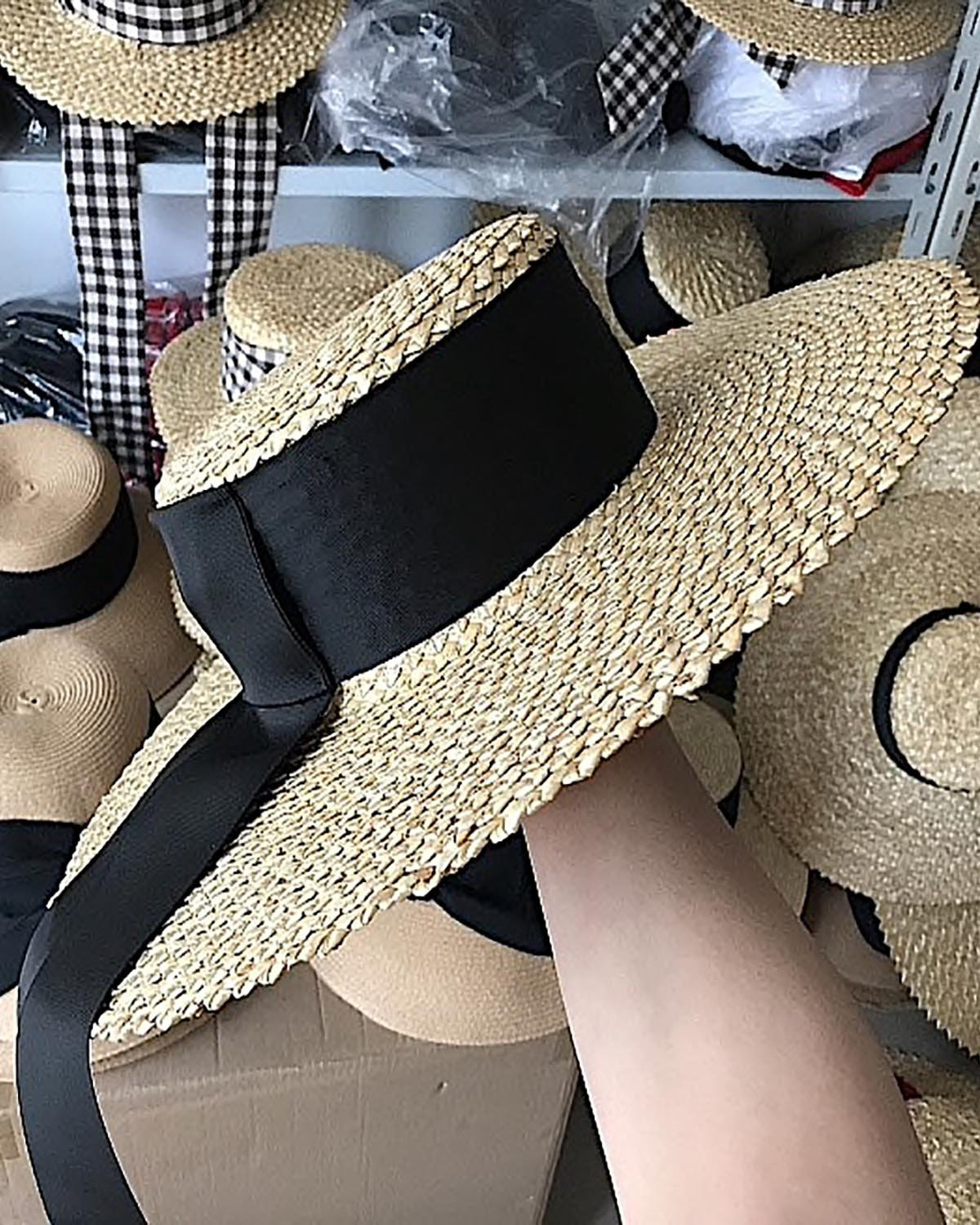 9aab92cedbb71d ... Wide Brim Straw Boater with Black Ribbon - Lookbook Boutique. Title