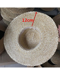 Pineapple Straw 12cm Wide Brim Straw Boater with Black Ribbon - Lookbook Boutique