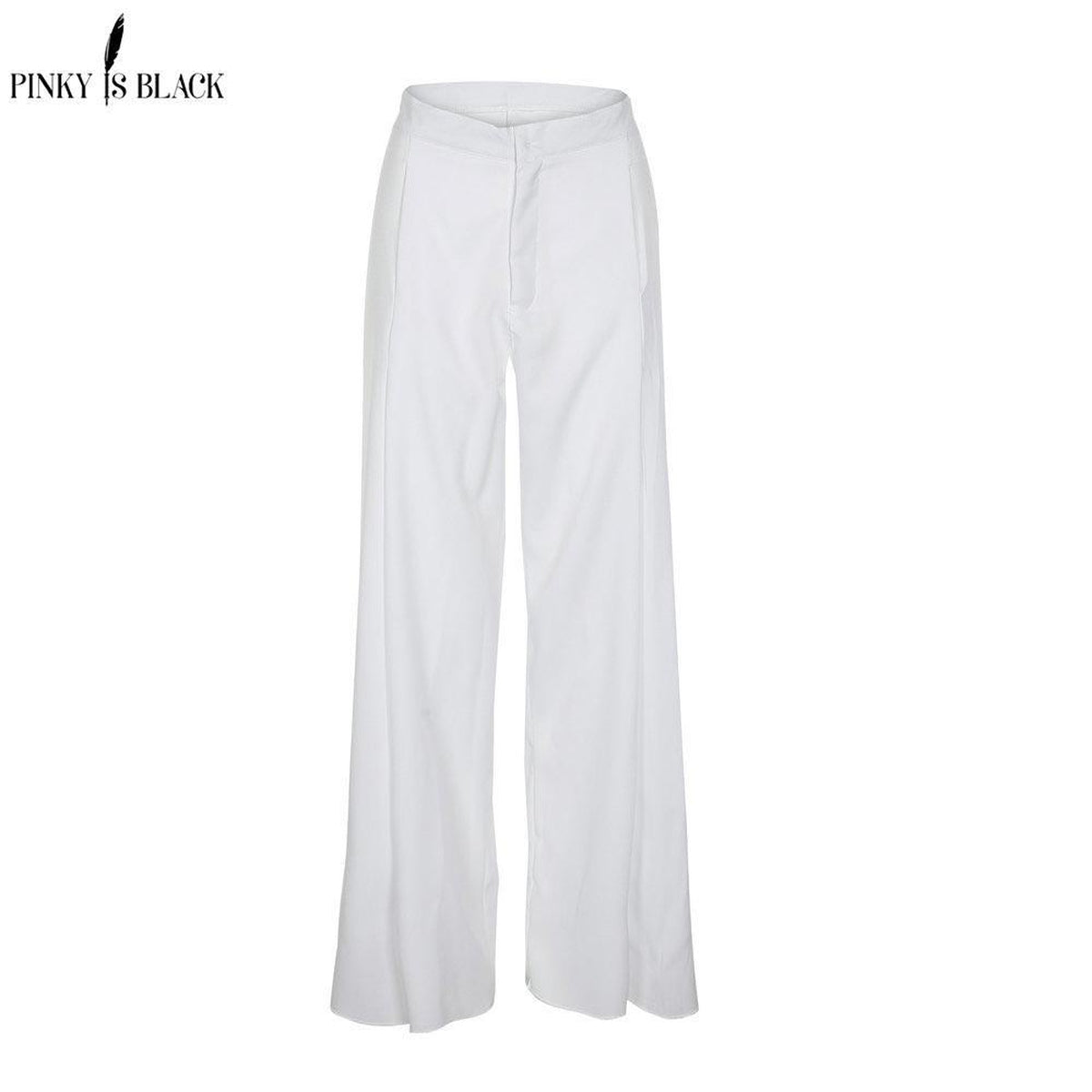 Pinky High Waist Front Fly Wide Leg Pants in White-Lookbook Boutique
