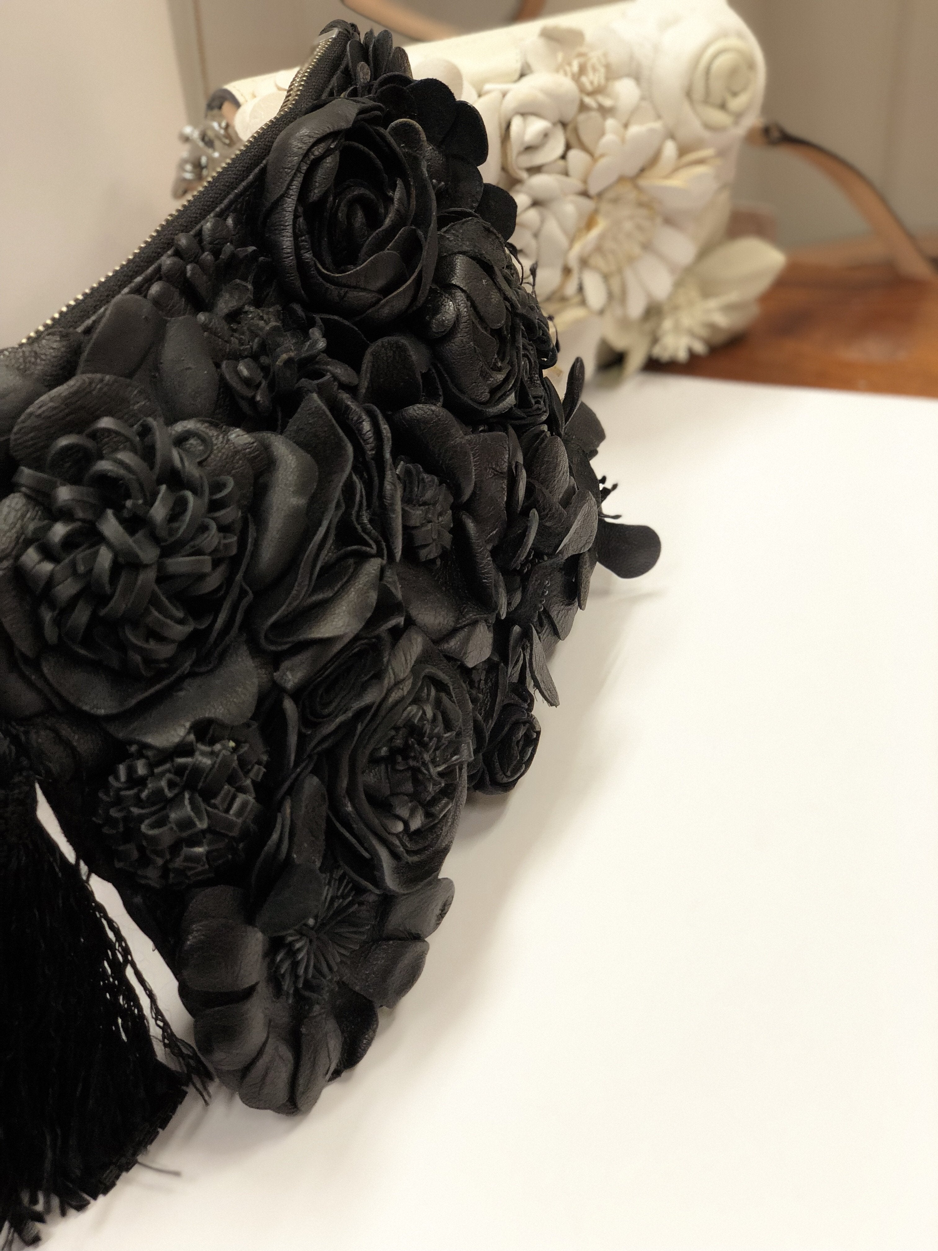 Primp My Purse Leather Flower Clutch in Black-Lookbook Boutique