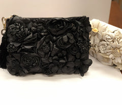 Primp My Purse Leather Flower Clutch in Black