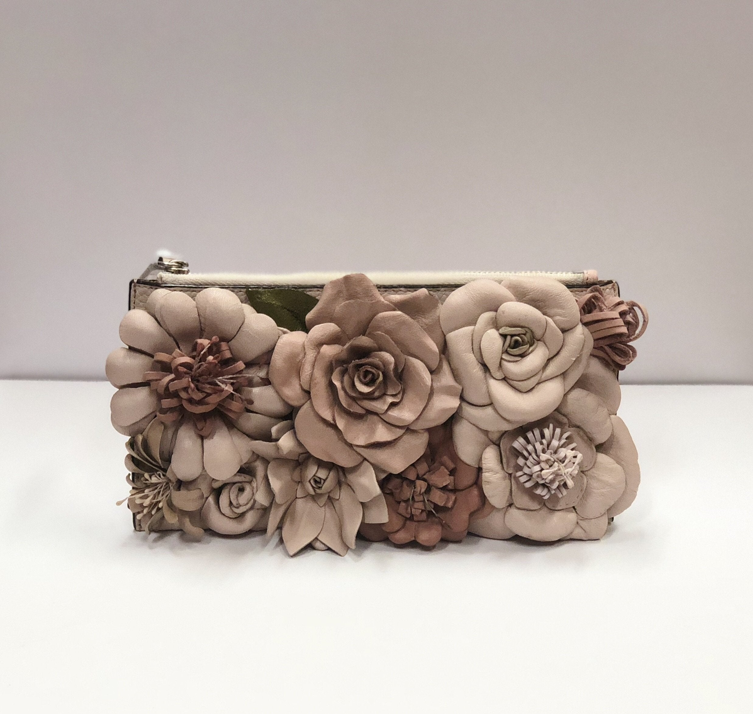 Primp My Purse Oroton Leather Flower Clutch/Wallet in Pale Pink - Lookbook Boutique